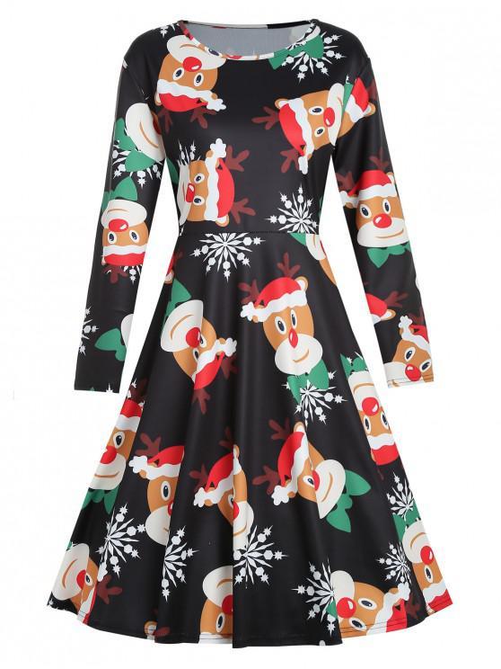 Plus Size Elk Print Christmas Dress - Negru L