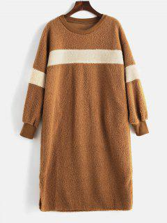 Knee Length Fluffy Shift Dress - Brown L