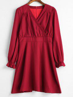 Ruffle Surplice Dress - Lava Red M