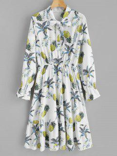 Robe Ananas Imprimé à Manches Longues à Volants - Multi L