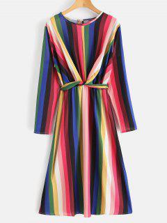 Vestido Con Cinturón A Rayas De Colores - Multicolor M