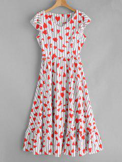 Hearts Print Maxi Flounce A Line Dress - Multi M