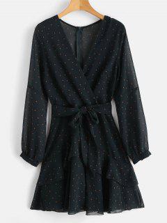 Ruffle Polka Dot Plunging Dress - Dark Green L