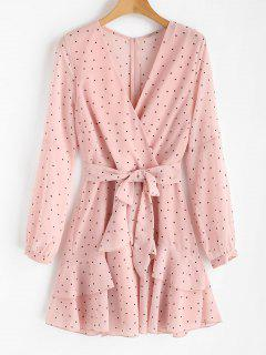 Ruffle Polka Dot Surplice Dress - Light Pink L