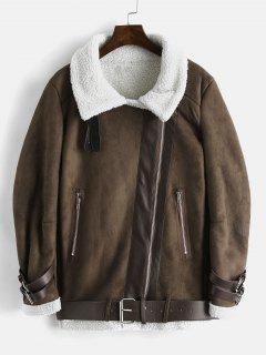Faux Suede Belted Fluffy Coat - Deep Brown M