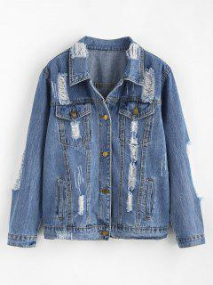 Western Distressed Denim Jacket - Blue Xl