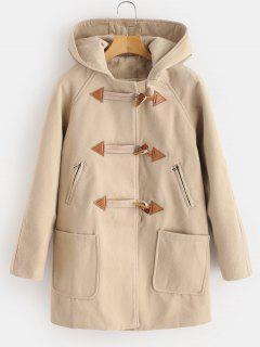 Hooded Zip Tunic Duffle Coat - Apricot M