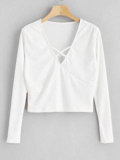 Criss Cross Plunging Crop T-shirt - White M