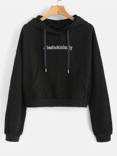 Letter Embroidery Front Pocket Hoodie - Black
