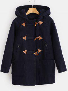 Hooded Zip Tunic Duffle Coat - Deep Blue M