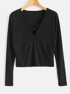T-shirt Criss Cross Plonging Crop - Noir M