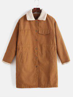 Snap Button Drawstring Long Coat - Brown Xl