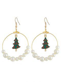 Christmas Tree Artificial Pearl Hook Earrings - Gold