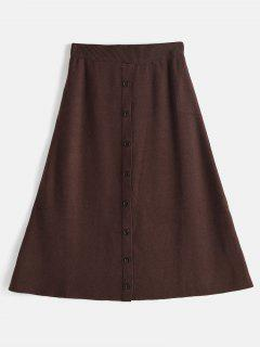 Knitted Button Embellished Midi Skirt - Sepia