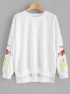 Embroidered Slit Drop Shoulder Sweatshirt - White L