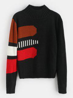 Colorblock Mock Neck Sweater - Black