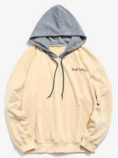 Embroidered Letter Contrasting Hoodie - Corn Yellow M