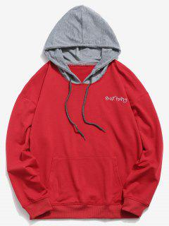 Embroidered Letter Contrasting Hoodie - Lava Red 3xl