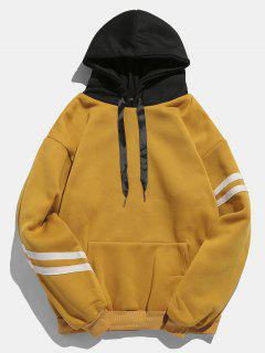 Kangaroo Pocket Fleece Pullover Hoodie - Orange Gold L