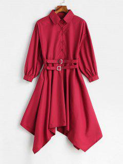 Shirred Drop Shoulder Handkerchief Dress - Lava Red S
