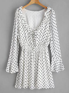 Polka Dot Ruffle Bell Sleeve Dress - White L
