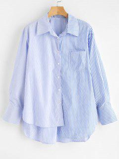 Pocket High Low Gestreiftes Shirt - Himmelblau S