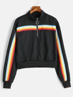 Rainbow Striped Patched Half Zip Sweatshirt - Black M