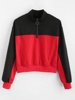 Mock Neck Two Tone Sweatshirt - Rot M
