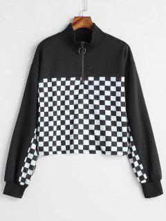 Half Zip Checkered Sweatshirt - Black Xl