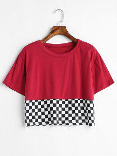 Loose Fit Checkered Crop Tee - Red Wine M