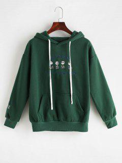 Embroidery Fleece Pocket Hoodie - Dark Green