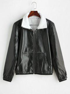 Fleece Faux Leather Pocket Jacket - Black M