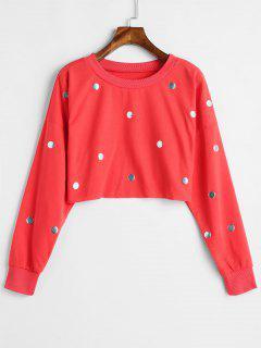 Rivet Embellished Crop Sweatshirt - Bean Red L