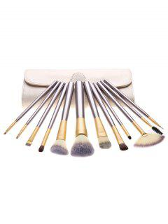Portable 12 Pcs Ultra Soft Travel Makeup Brush With Brush Bag - Light Khaki Regular