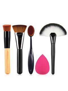 Brosse De Maquillage Cosmétique Basique Mélangée Avec Eponge 5 Pièces - Multi