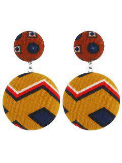 Round Geometric Shape Dangle Earrings - Light Brown