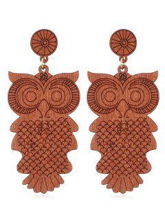 Cartoon Owl Wooden Drop Earrings - Orange Salmon