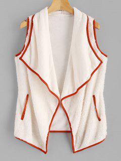 Fluffy Turndown Collar Waistcoat - Warm White M