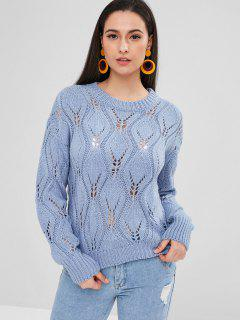 Cable Knit Eyelet Sweater - Blue Koi