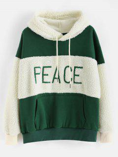 Fluffy Faux Fur Fleece Drop Shoulder Hoodie - Deep Green