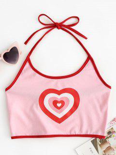 Heart Pattern Halter Cropped Top - Light Pink L
