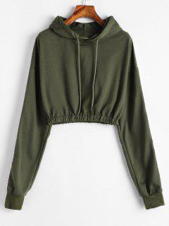 Ribbon Elastic Hem Cropped Hoodie - Army Green S