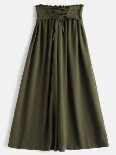 Pantalones De Pierna Ancha Culotte De Cintura Alta - Verde Del Ejército L