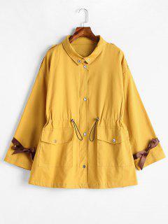 Pockets Zipper Fly Coat With Ribbon - Yellow S