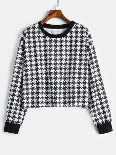 Short Houndstooth Pullover Sweatshirt - Multi L