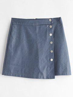 Buttoned PU Leather Mini Skirt - Blue Gray L