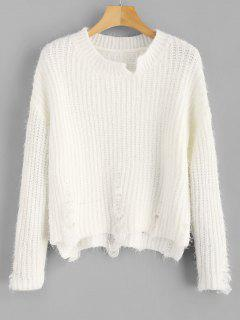 Ripped Fuzzy High Low Sweater - White