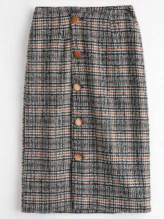 Button Up Houndstooth Skirt - Black L