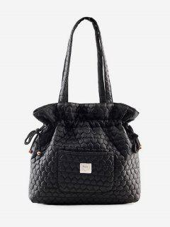 Heart Pattern String Design Bucket Bag - Black