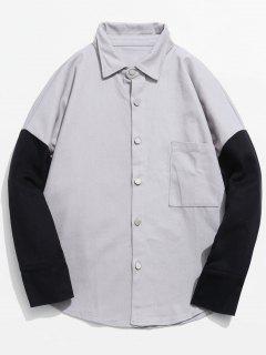 Button Fly Funny Printed Asymmetric Shirt - Gray Goose M